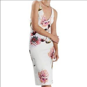 TopShop White & Floral MIDI Dress size 8